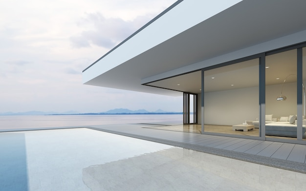 3d rendering of modern house with swimming pool on sea background.