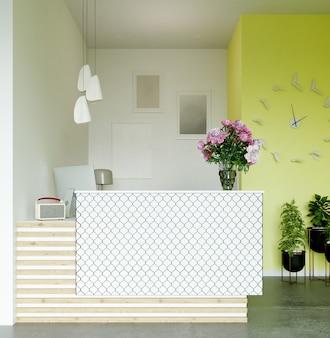 3d рендеринг. современный интерьер ресепшн салона красоты в бело-лимонных тонах.