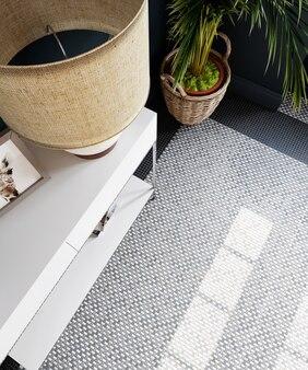 3d 렌더링. 타일 바닥과 야자수가있는 홀의 현대적인 인테리어.