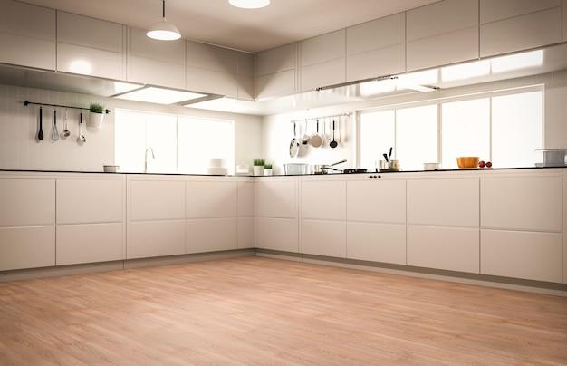 3d рендеринг интерьера современной кухни на деревянном полу