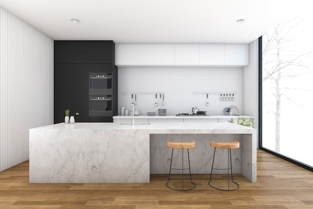 3d rendering modern kitchen with wood floor