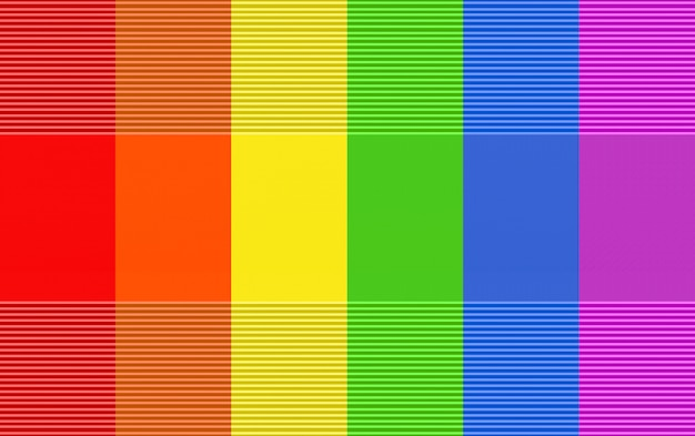 3d rendering. modern lgbt rainbow color flag wall design background.