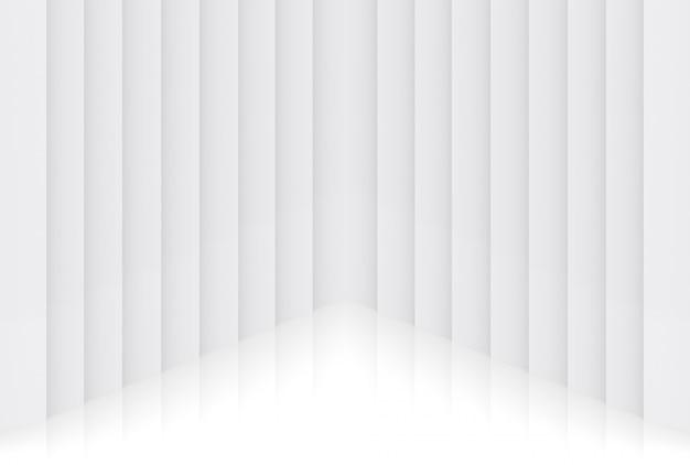 3dレンダリング。モダンな光最小限の垂直パネルプレート壁コーナーデザインの背景。