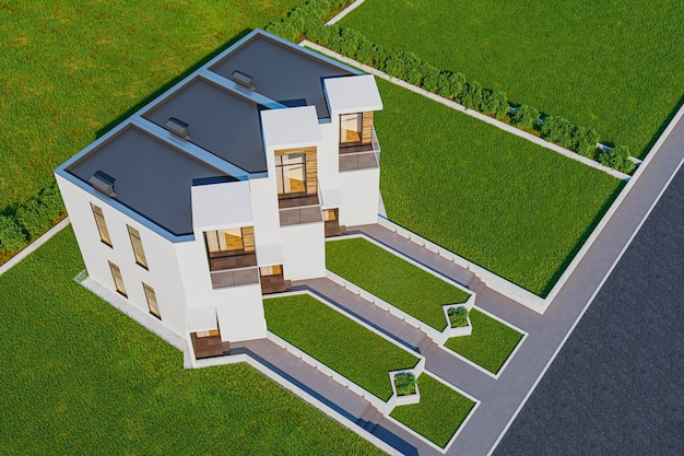 3d rendering of modern light townhouse cozy small house for sale or rent with many grass on lawn