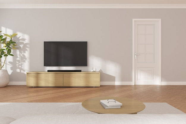 3d rendering of modern living room with tv screen and sofa on grey wall background.