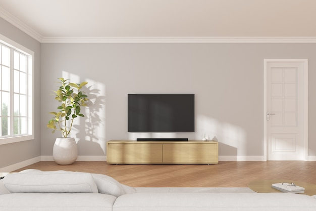 3d rendering of modern living room with tv screen and sofa on nature background.