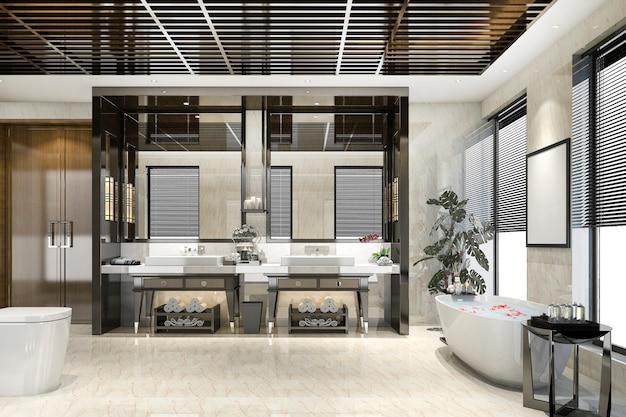 3d rendering modern loft bathroom with luxury tile decor