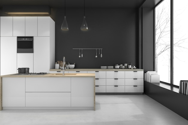 3d rendering modern loft black kitchen and dining room in winter