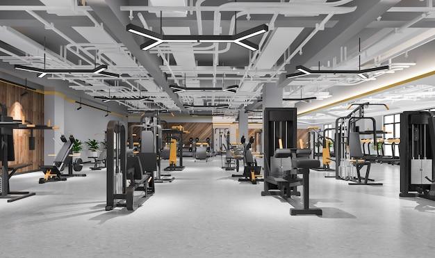 3d 렌더링 현대 로프트 체육관 및 피트니스