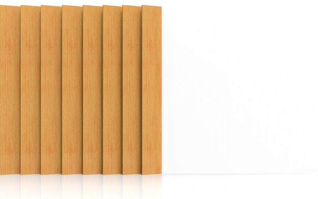 3dレンダリング。白い壁のデザインの背景を飾るモダンな長い垂直茶色木製パネルプレート。