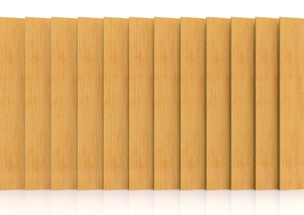 3d rendering. modern long vertical brown wood panel plate wall for decoration design background.