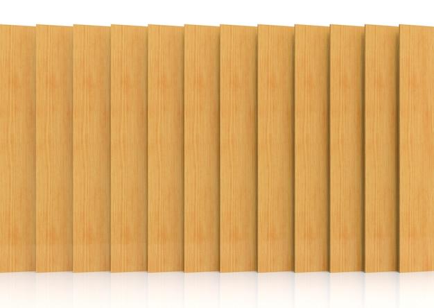 3dレンダリング。装飾デザインの背景のモダンな長い垂直茶色木製パネルプレート壁。