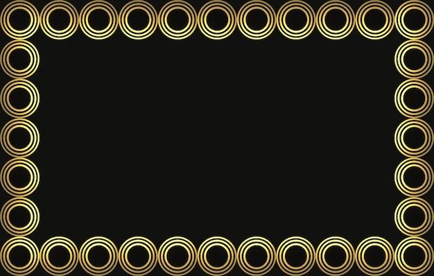 3d rendering. modern luxurious golden circle ring frame on black wall design background.