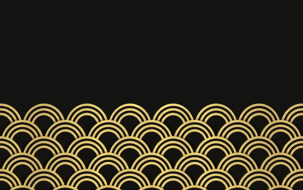 3d rendering. modern luxurious golden circle ring wave pattern on black wall design background.