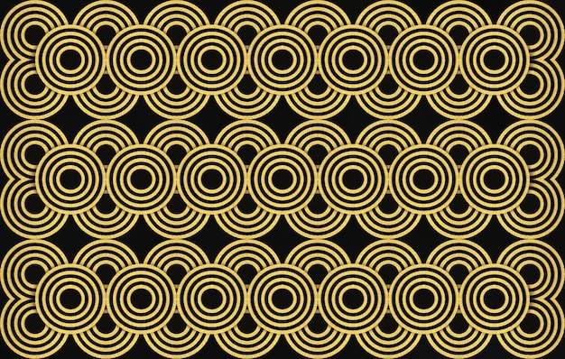 3d rendering. modern luxurious seamless golden circle ring pattern wall design background.