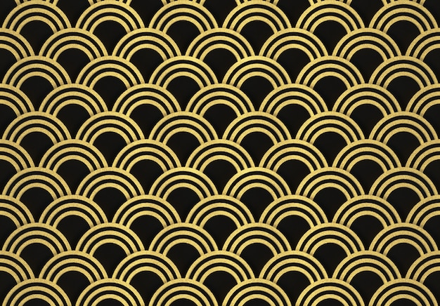 3d rendering. modern luxurious seamless golden circle ring pattern wave wall design background.