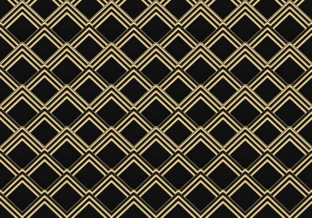 3d rendering. modern luxurious seamless golden square grid pattern wall design background.