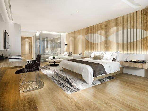 3dレンダリングのモダンで豪華なベッドルームスイートとバスルーム