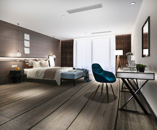 3d rendering modern luxury bedroom suite in hotel with working desk