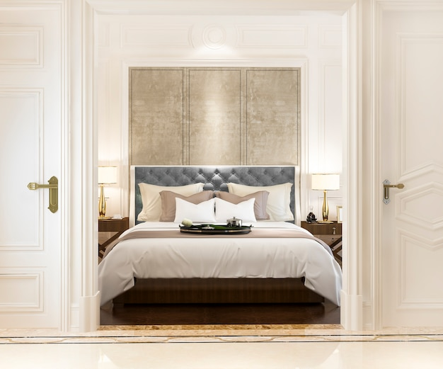 3d rendering of modern luxury classic bedroom with marble decor