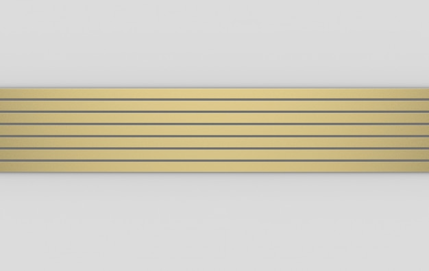 3d rendering. modern luxury gold horizontal bar pattern on gray background.