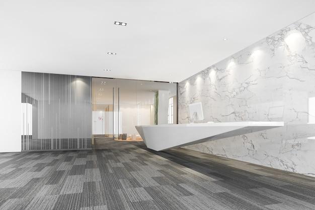 3d рендеринг современного роскошного отеля и офиса, стойка регистрации и холл