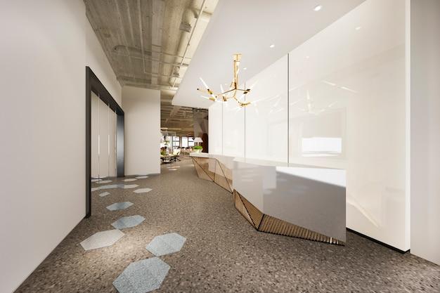 3d 렌더링 현대적인 고급 호텔 및 사무실 리셉션 및 기하학 패턴 라운지