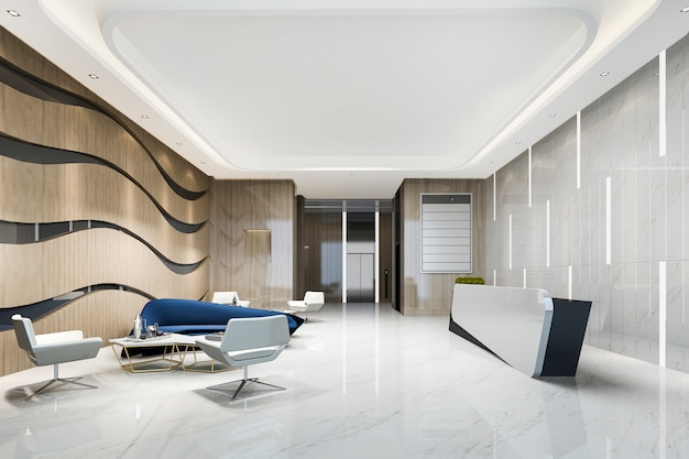 3 dレンダリングモダンで豪華なホテルとオフィスのレセプションとラウンジ、ミーティングチェアとエレベーターの廊下近くの青いソファ