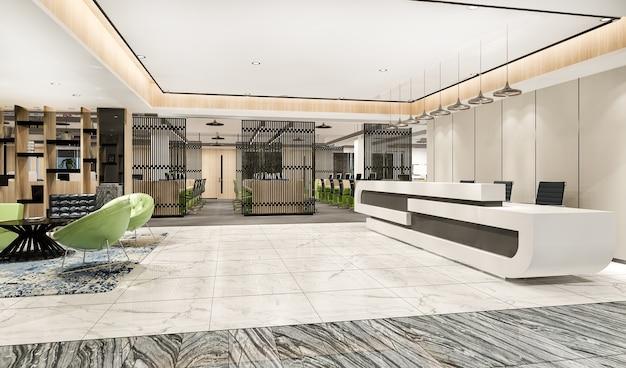 3d 렌더링 현대적인 고급 호텔, 사무실 리셉션 및 회의실 의자가 있는 라운지