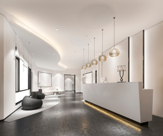 3d 렌더링 현대 고급 호텔 및 사무실 리셉션 및 라운지