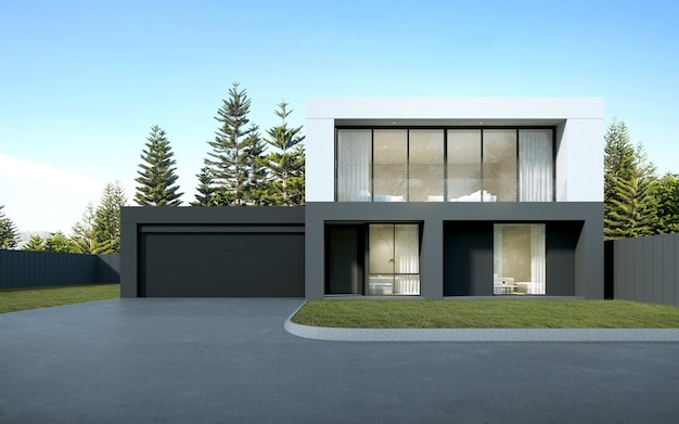 3d rendering of modern luxury house with garage