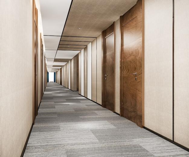 3d 렌더링 현대적인 고급 목재와 타일 호텔 복도
