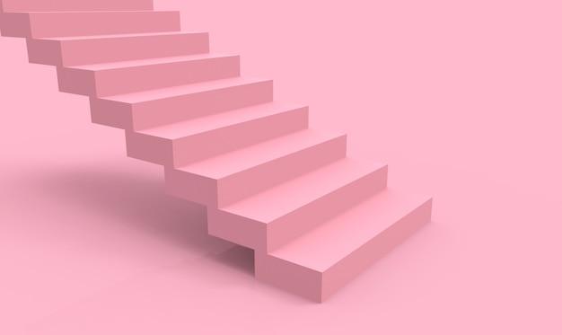 3dレンダリング。モダンな最小限の空の柔らかいピンク色の階段の背景。