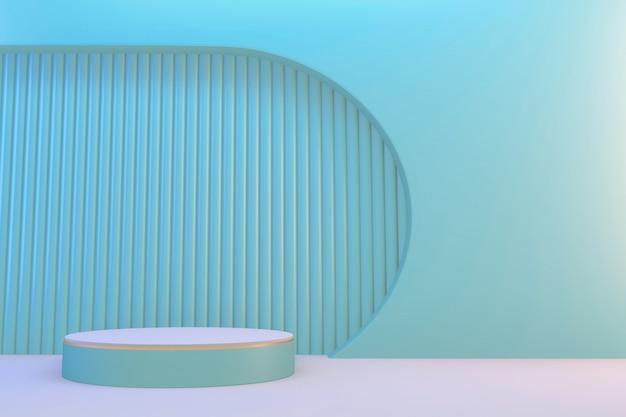 3d 렌더링. 현대 최소한의 녹색 연단 추상 실린더 디스플레이.