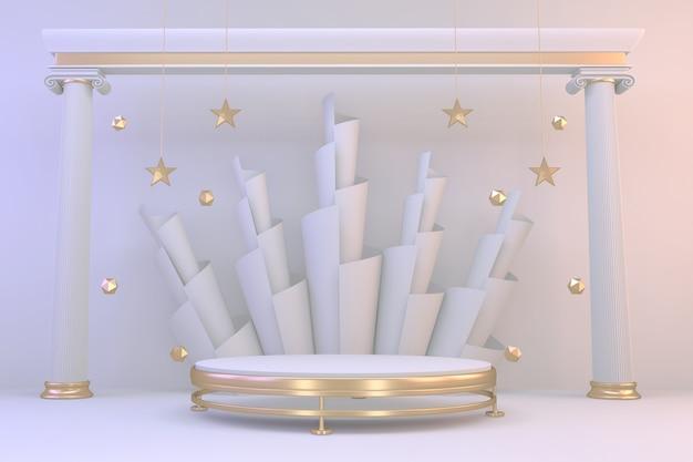 3d 렌더링. 현대 최소한의 모의 금 연단 추상 실린더 디스플레이.