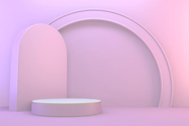 3d 렌더링. 현대 최소한의 모의 분홍색과 흰색 연단 추상 실린더 디스플레이.