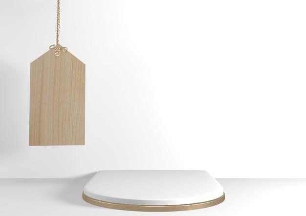 3d-рендеринг. современный минималистичный макет белого и золотого подиума с абстрактным цилиндрическим дисплеем.