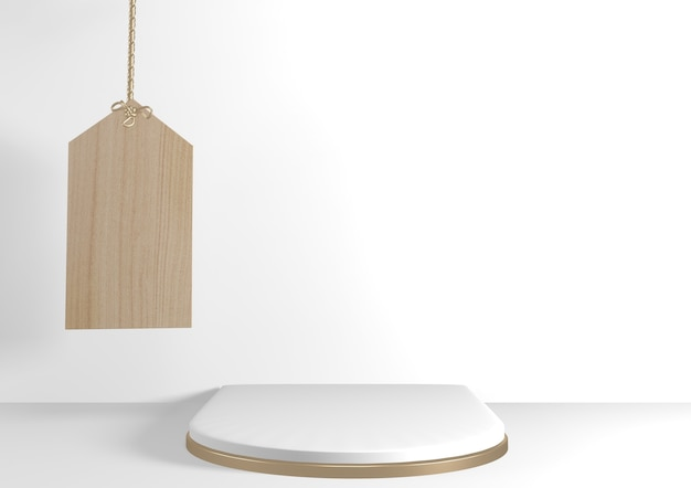 3d rendering. modern minimalistic mock up  white and gold podium abstract cylinder display.