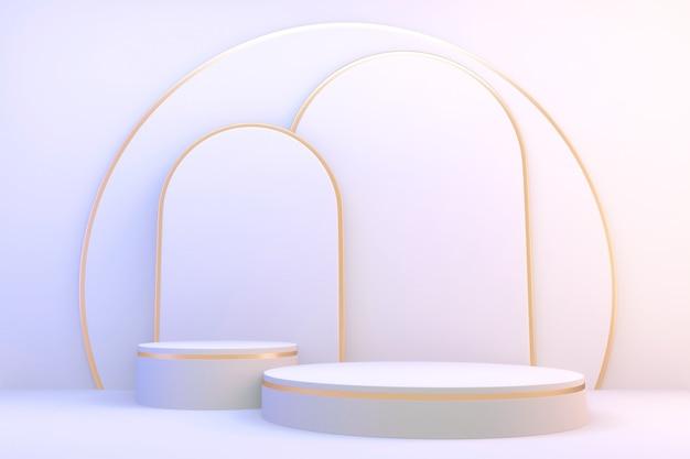 3d-рендеринг. современный минималистичный белый и золотой подиум абстрактный цилиндрический дисплей.