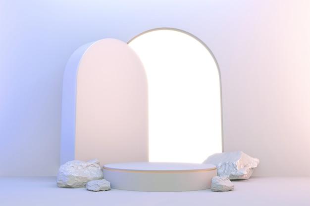 3d 렌더링. 현대 최소한의 흰색과 금색 연단 추상 실린더 디스플레이.