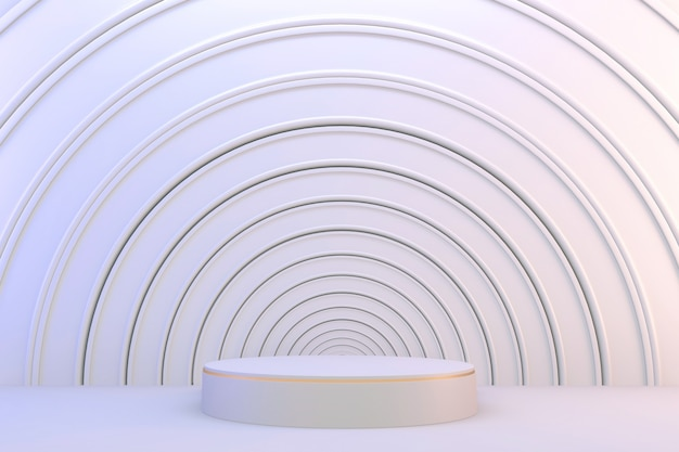 3d rendering. modern minimalistic white and gold podium abstract cylinder display.