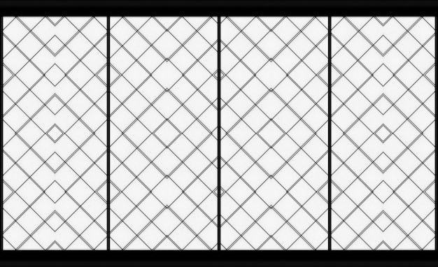 3d rendering. modern oriental square shape pattern paper art wall door.