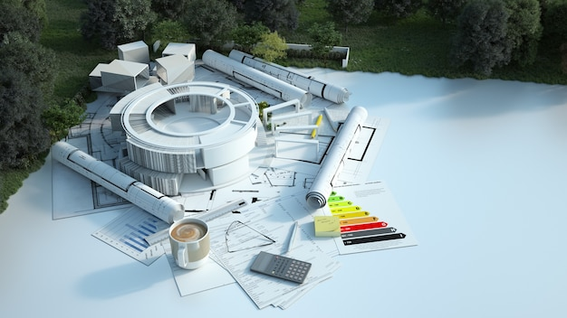 3d rendering  of a modern  round building with blueprints, energy charts and other documents in a field