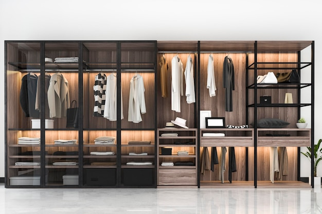 3d rendering modern scandinavian black wood walk in closet with wardrobe near window