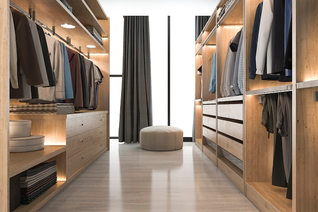 3d rendering modern scandinavian white wood walk in closet with wardrobe near window