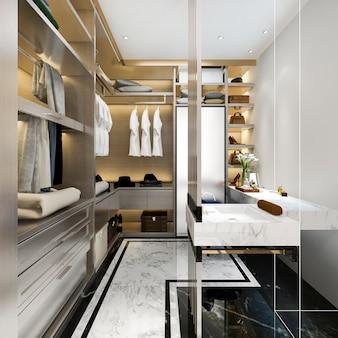 3d представляя современную скандинавскую белую деревянную прогулку в шкафе с шкафом около окна