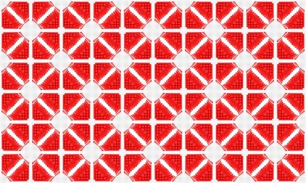 3dレンダリング。モダンなシームレスな赤の広場グリッドアートタイルパターンデザイン壁テクスチャ背景。