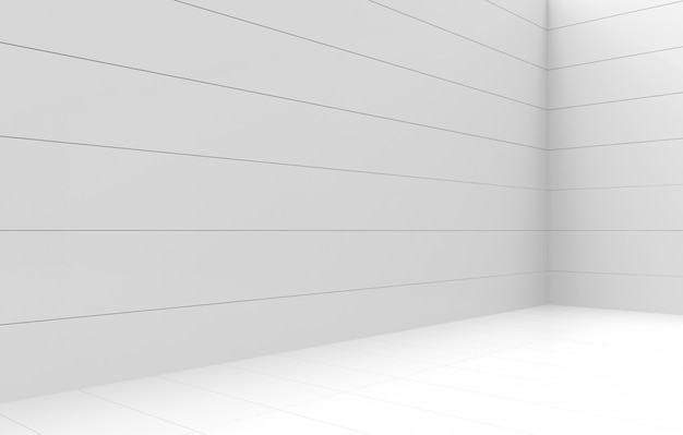 3d rendering. modern simple minimal white panel corner room wall design background.