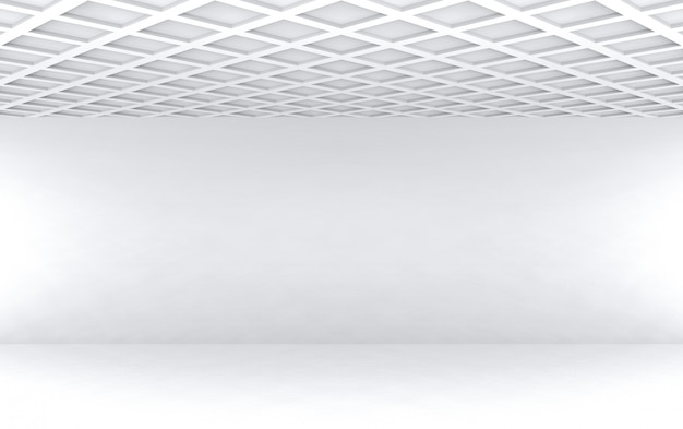 3d rendering.modern square pattern ceiling with empty white wall room wall design background.
