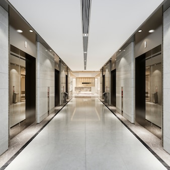 3d rendering modern steel elevator lift lobby in business hotel with luxury design near corridor